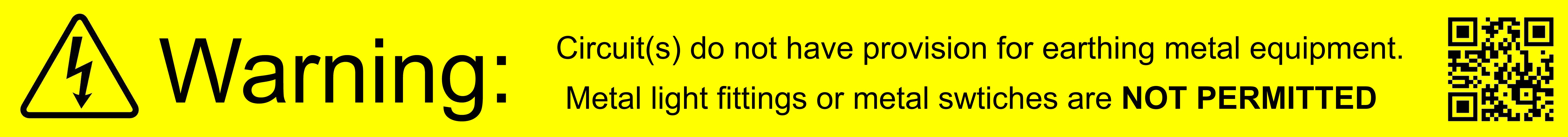 No cpc to lighting circuit warning notice.